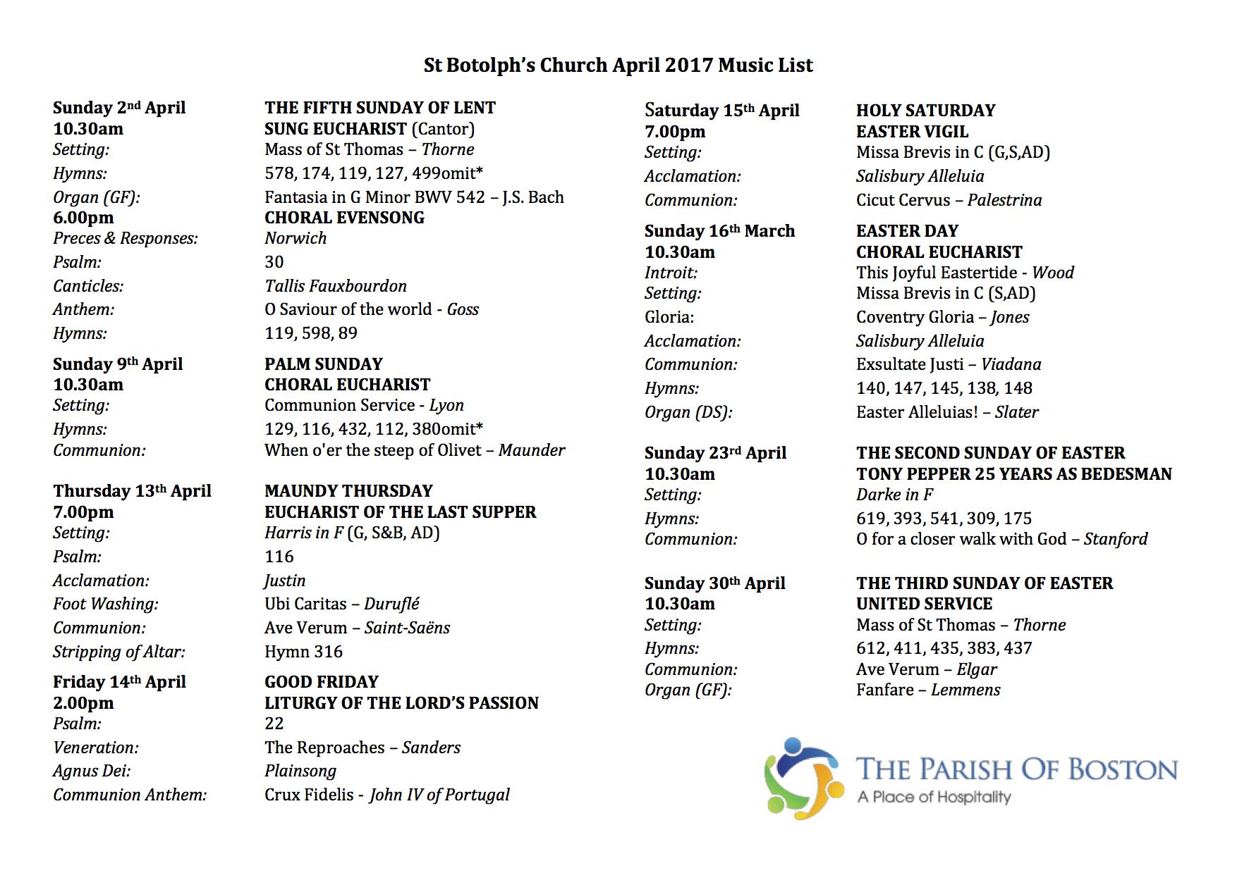 April 2017 Music List