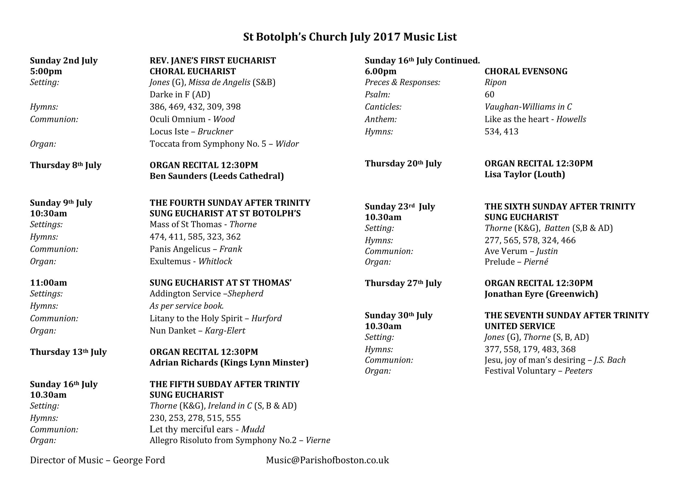July 2017 Music List