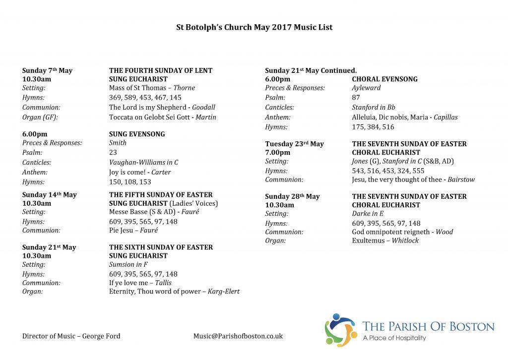 May 2017 Music List